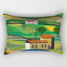 Farm House in fields Rectangular Pillow