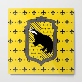 Hufflepuff house crest Fleur de Lis background Metal Print