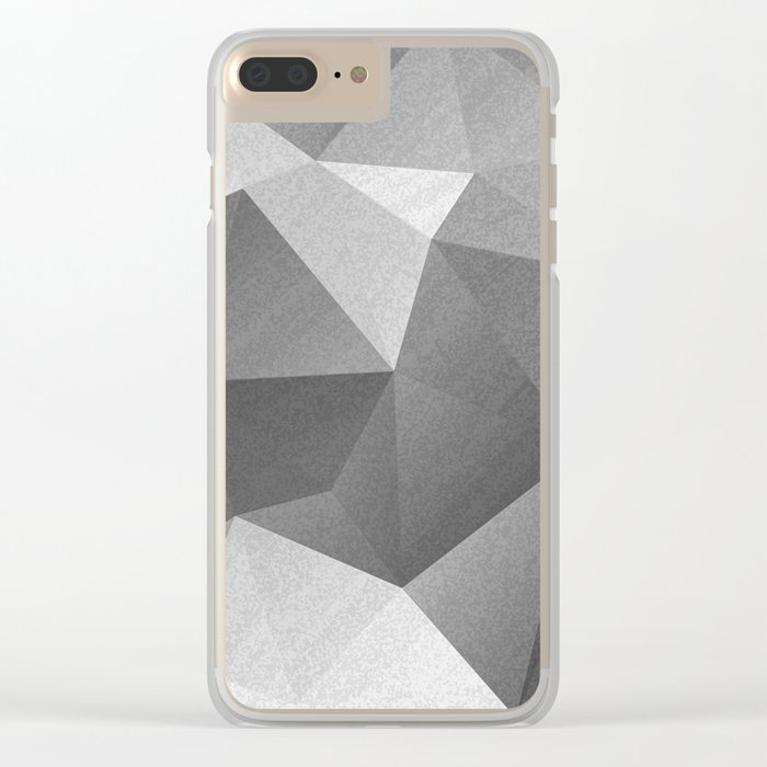 Grey polygonal geometric pattern . Clear iPhone Case