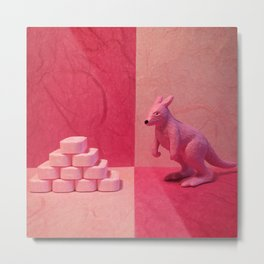 The Pink Kangaroo & The Pez Pile Metal Print