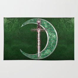 Green Celtic Moon Rug