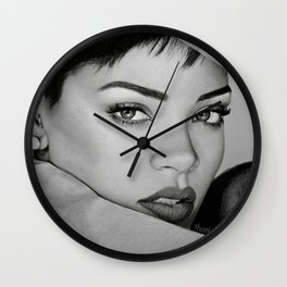 Rihanna's Black & White Drawing Portrait Wall Clock