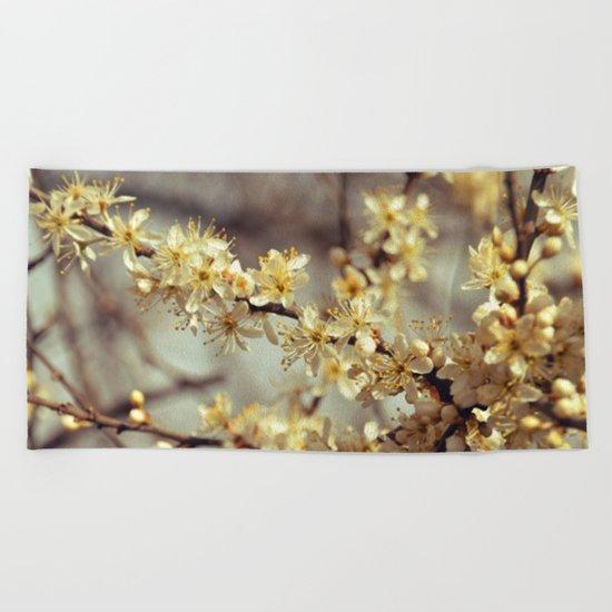 Sunny Cherry Blossom  Beach Towel