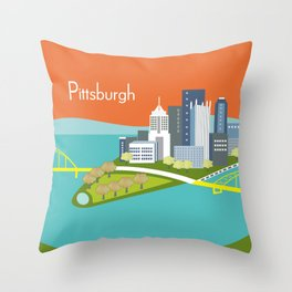 Pittsburgh, Pennsylvania - Skyline Illustration by Loose Petals Throw Pillow