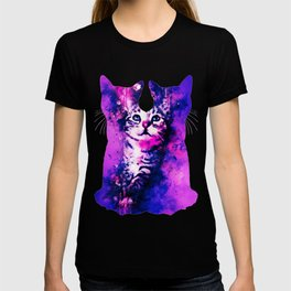 pianca baby cat kitten splatter watercolor purple pink T-shirt