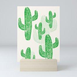 Linocut Cacti Green Mini Art Print