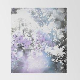 Watercolor Floral Lavender Teal Gray Throw Blanket