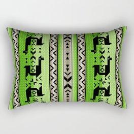 Llamas_Green and WarmGray Rectangular Pillow