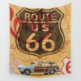 Route 66 Vintage Travel Poster Wall Tapestry