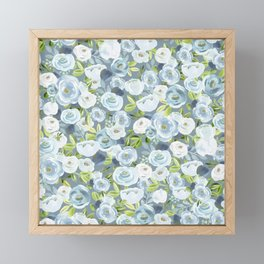 Soft Blue Watercolor Floral, Hand-painted Floral Pattern, Navy and Slate Blue, Light Blue, Roses Framed Mini Art Print