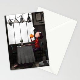 Bewitched pumpkin coffee Stationery Cards