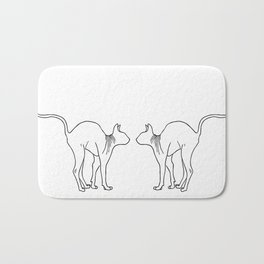 Sphynx Cat Arching Its Back - Naked Cat -  Simple Line - Minimal Bath Mat