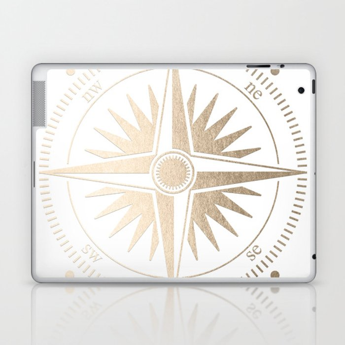 Gold on White Compass Laptop & iPad Skin