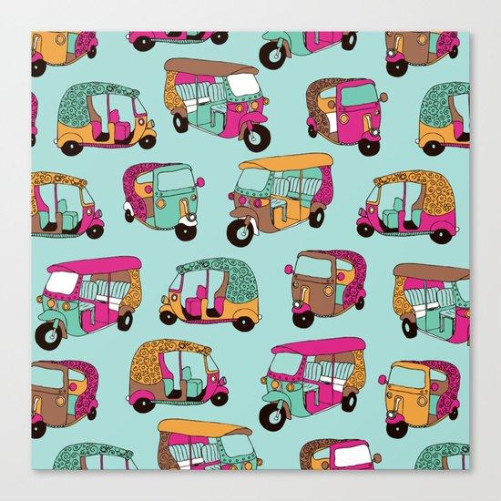 India rickshaw illustration pattern Canvas Print