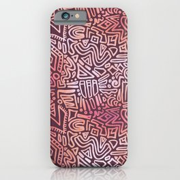 Abstract Shapes Doodle Pattern (Red) iPhone Case