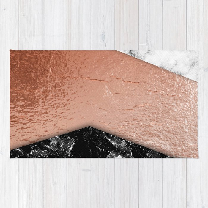 Rose Gold foil and marble Rug