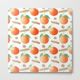 Tangerines, Cinnamon and Star Anise Watercolor Illustration and Pattern on White Metal Print