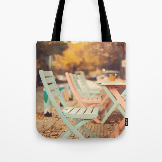 Dream Autumn (Pink and blue coffee shop chairs on retro and vintage fall) Tote Bag