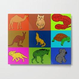 Desert animals pop art Metal Print