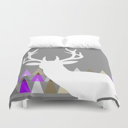 Deer Head Geometric Triangles | purple grey Duvet Cover