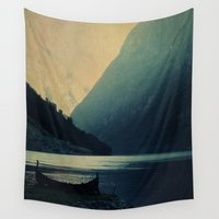 mountains Wall Tapestries featuring mountains by Ingrid Beddoes