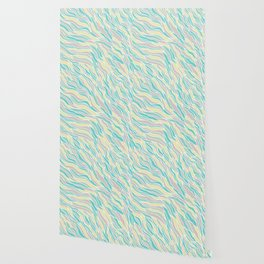 Pastel green teal yellow pink hand painted waves pattern Wallpaper