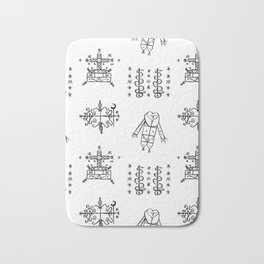 Papa Legba + Baron Samedi + Gran Bwa + Damballah-Wedo Voodoo Veve Symbols in White Bath Mat