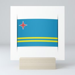 Flag of Aruba.  The slit in the paper with shadows. Mini Art Print