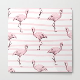Flamingos on Drawn Stripes in Pink Flamingo Metal Print