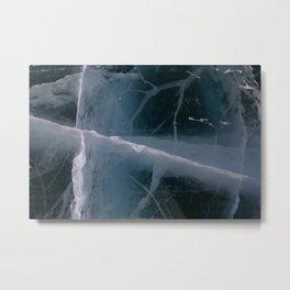 Cracked Road Ice Metal Print
