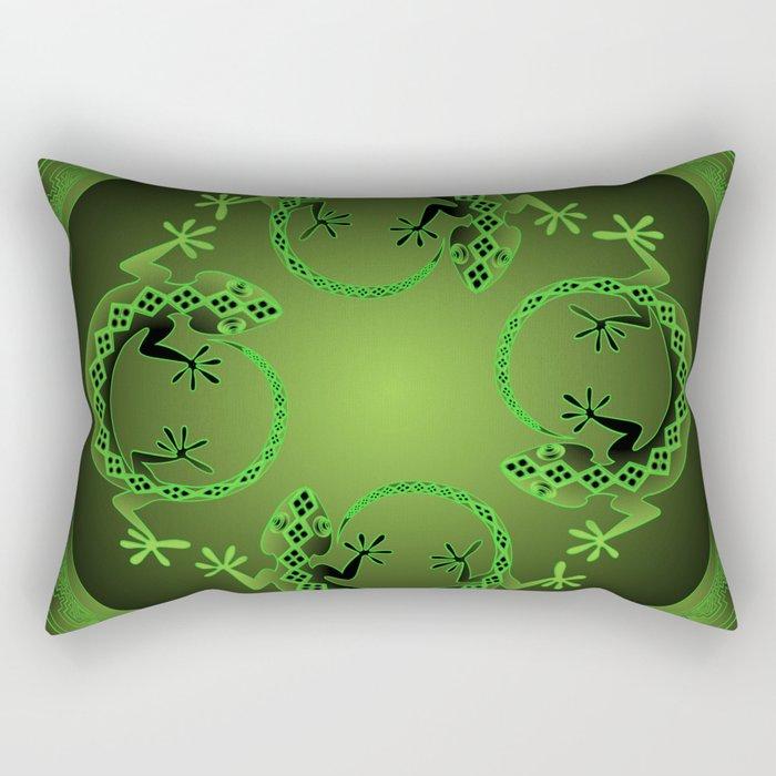Vintage Green Gecko Rectangular Pillow