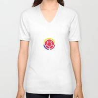 colombia V-neck T-shirts featuring Seleccion Colombia by DAN LOZ
