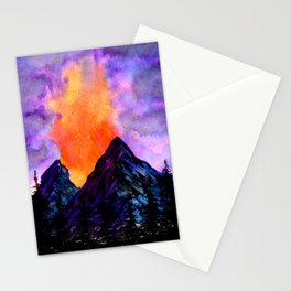 Volcanic Eruption at Night Stationery Cards
