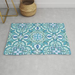Colored Crayon Floral Pattern in Teal & White Rug