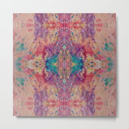 Psycho - Peachy Keen Flow Pattern with a Touch of Turquoise and Violet by annmariescreations Metal Print