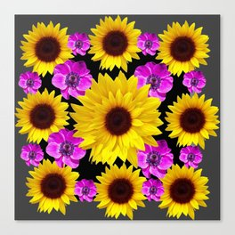 PURPLE FLOWERS & SUNFLOWERS DECO ART Canvas Print