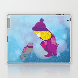 Lara with cat - Christmas Laptop & iPad Skin