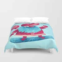 santa Duvet Covers featuring Snowboard Santa by Lime