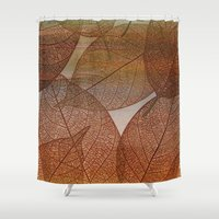 blankets Shower Curtains featuring Painterly Amber And Brown Leaf Abstract by Judy Palkimas