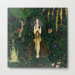 1921 Classical Masterpiece 'Flowers and Flames' by Kay Nielsen Metal Print