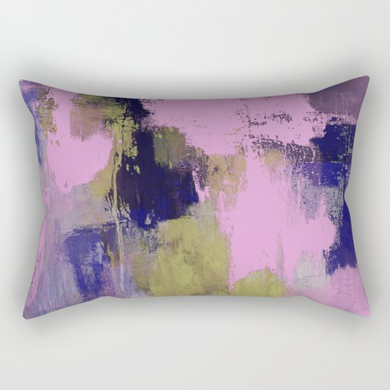 Wild Lilac - Abstract, textured, lilac, purple, blue and yellow oil painted artwork Rectangular Pillow