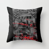 techno Throw Pillows featuring Techno Cop by Slippytee Clothing