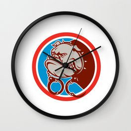 Bulldog Dog Mongrel Head Handcuffs Circle Retro Wall Clock