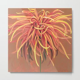 Big Orange Pop Art Chrysthanthemum Metal Print