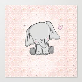 elephant girly cuty Canvas Print