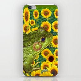 AVOCADO GREEN BOG FROG & YELLOW FLOWERS iPhone Skin