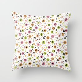 I love Cats - Cat Lovers Heart Flower Meadow - Pink & Spring Green Feline Meow Throw Pillow
