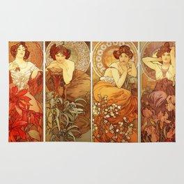 "Alphonse Mucha ""The Gem Series - Ruby, Amethyst, Emerald, Topaz"" Rug"