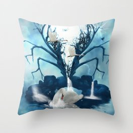 Beautiful white swan Throw Pillow
