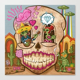Mexican Skull House Canvas Print